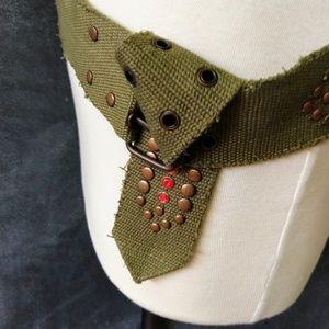 Accessories - BOHEMIAN BELT | Olive Green Canvas Stud Detail